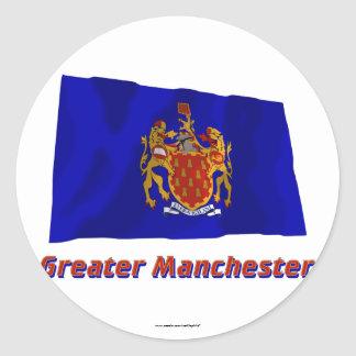 Greater Manchester Waving Flag with Name Classic Round Sticker