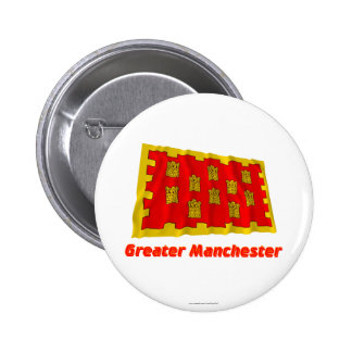 Greater Manchester Waving Flag with Name Pinback Button