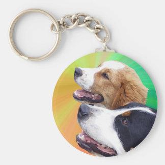 Greater Swiss Mountain dog and St. Bernard dog Basic Round Button Keychain