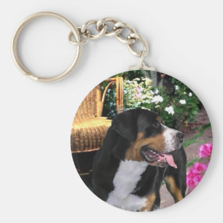 Greater Swiss Mountain Dog Art Gifts Basic Round Button Keychain