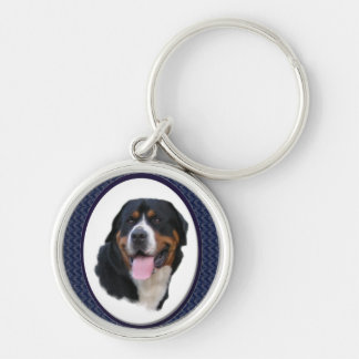 Greater Swiss Mountain Dog Art Silver-Colored Round Keychain