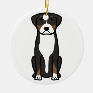 Greater Swiss Mountain Dog Cartoon Ceramic Ornament