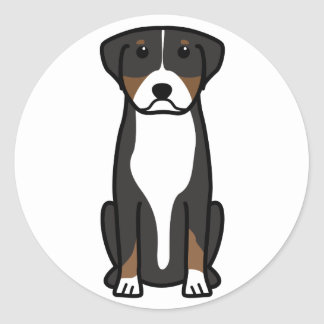 Greater Swiss Mountain Dog Cartoon Classic Round Sticker