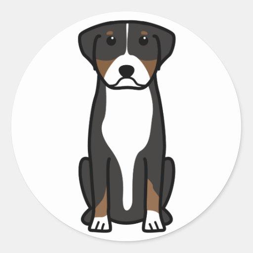 Greater Swiss Mountain Dog Cartoon Round Sticker
