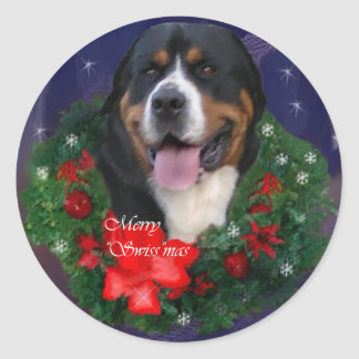 Greater Swiss Mountain Dog Christmas Gifts Round Sticker