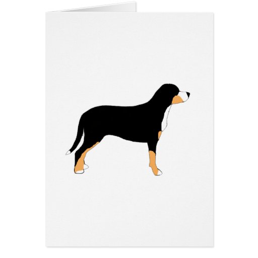 greater swiss mountain dog color silhouette greeting cards