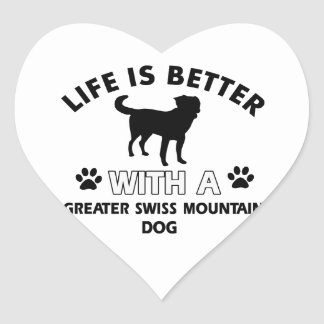Greater Swiss Mountain Dog designs Heart Stickers