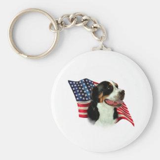 Greater Swiss Mountain Dog Flag Basic Round Button Keychain