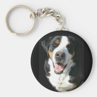 Greater Swiss Mountain Dog: Happy Basic Round Button Keychain