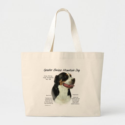 Greater Swiss Mountain Dog History Design Jumbo Tote Bag