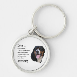 Greater Swiss Mountain Dog Love is... Silver-Colored Round Keychain