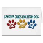 GREATER SWISS MOUNTAIN DOG Mom Paw Print 1 Greeting Card
