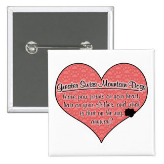 Greater Swiss Mountain Dog Paw Prints Humor 2 Inch Square Button