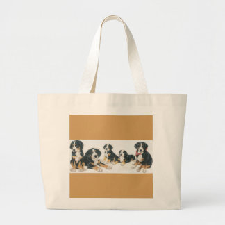 Greater Swiss Mountain Dog Puppies Large Tote Bag