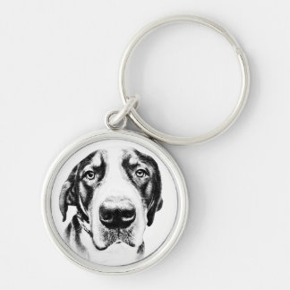 Greater Swiss Mountain Dog Silver-Colored Round Keychain