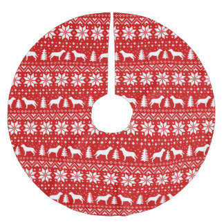 Greater Swiss Mountain Dogs Christmas Pattern Red Brushed Polyester Tree Skirt