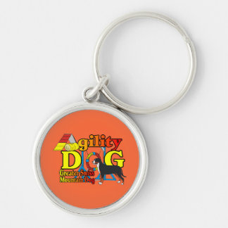 Greater Swiss Mtn Dog Agility Silver-Colored Round Keychain