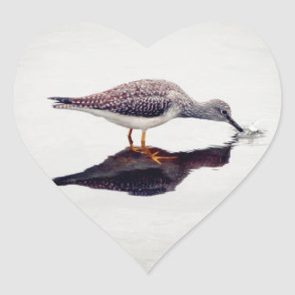 Greater Yellowlegs Catching Fish Heart Sticker