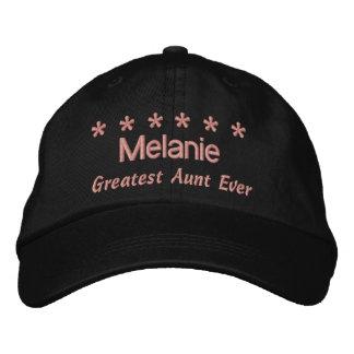 Greatest Aunt Ever 6 Stars Custom Name BLACK V03 Embroidered Hat