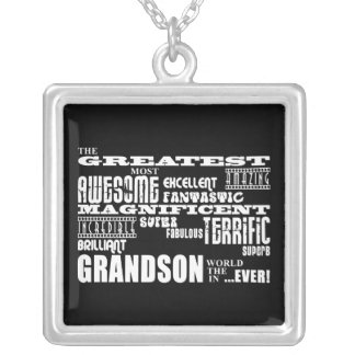 Greatest Best Grandsons Birthday Parties Christmas Square Pendant Necklace