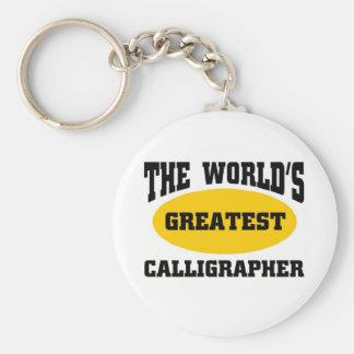 Greatest calligrapher basic round button keychain