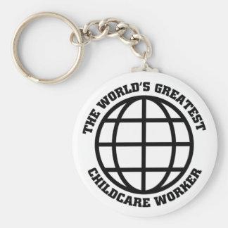 Greatest Childcare worker Basic Round Button Keychain