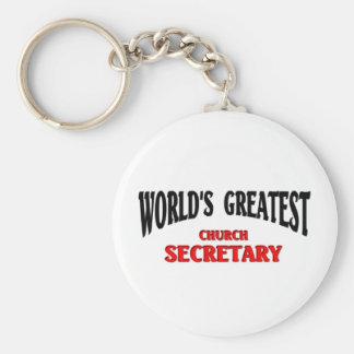 Greatest Church Secretary Basic Round Button Keychain