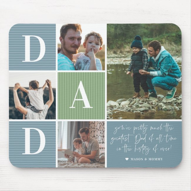 Greatest Dad   Color Block Photo Collage Mouse Pad