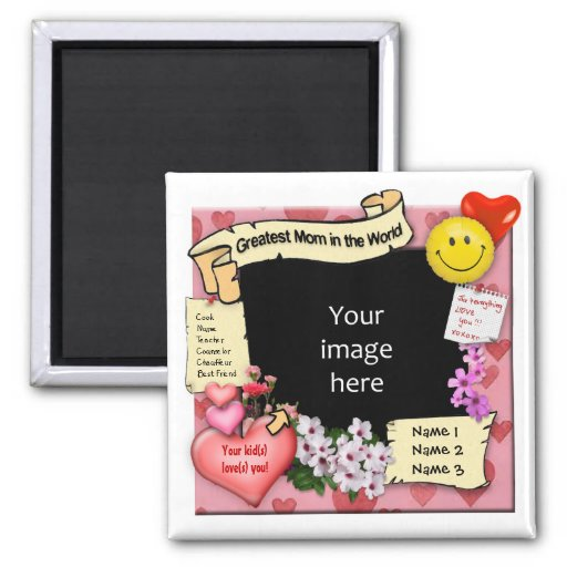 Greatest Mom Photo-Frame 2 Inch Square Magnet