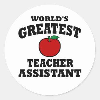 Greatest Teacher Assistant Classic Round Sticker