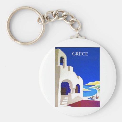 grece vintage basic round button keychain