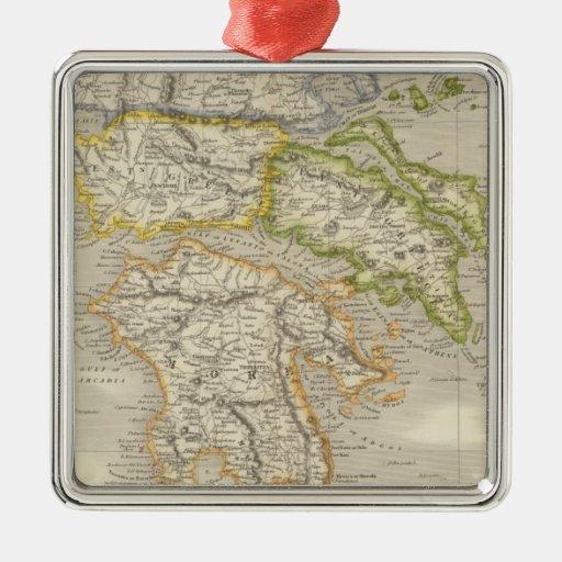 Grecia 11 adorno navideño cuadrado de metal