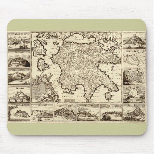 Grecia 1688/mapa peloponense griego mousepads