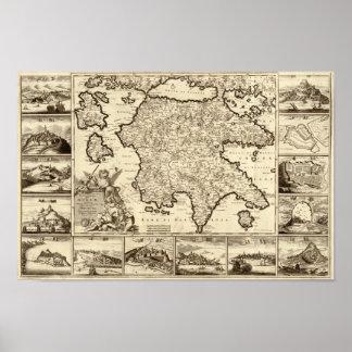 Grecia 1688/mapa peloponense griego poster