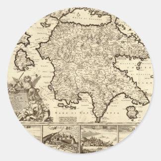 Grecia 1688/mapa peloponense griego pegatinas redondas