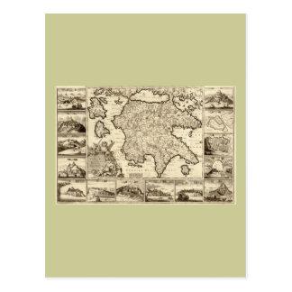 Grecia 1688/mapa peloponense griego postales