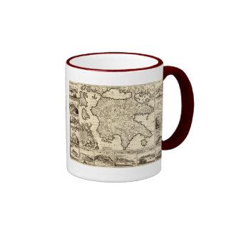 Grecia 1688/mapa peloponense griego tazas de café
