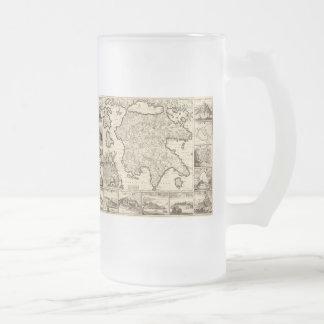 Grecia 1688/mapa peloponense griego taza de café