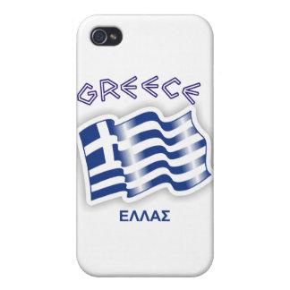 Grecia - bandera que agita griega iPhone 4/4S funda