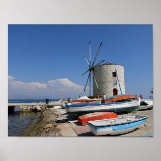 Grecia, Corfú, molino de viento viejo, poster