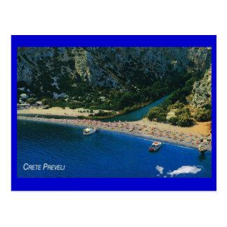Grecia, Creta, playa en Preveli, mediterráneo Postal