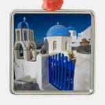 Grecia e isla griega de la ciudad de Santorini de Adorno Navideño Cuadrado De Metal