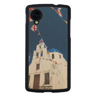 Grecia e isla griega de la ciudad de Santorini de Funda De Nexus 5 Carved® Slim De Arce
