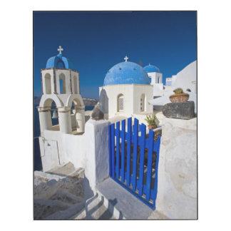 Grecia e isla griega de la ciudad de Santorini de Impresión En Madera
