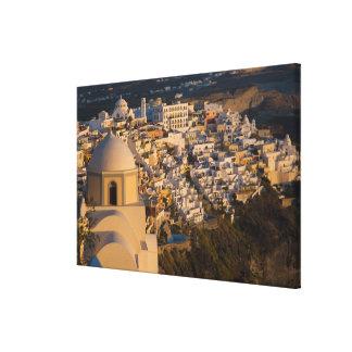 Grecia e isla griega de la ciudad de Santorini de Lienzo Envuelto Para Galerias