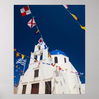Grecia e isla griega de la ciudad de Santorini de  Poster