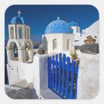 Grecia e isla griega de la ciudad de Santorini de Calcomanía Cuadradase