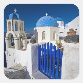 Grecia e isla griega de la ciudad de Santorini de Pegatina Cuadrada