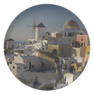 Grecia e isla griega de la ciudad de Santorini de  Plato De Cena