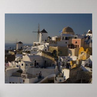 Grecia e isla griega de la ciudad de Santorini de  Póster